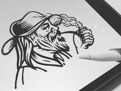 Old Merchant Logo Illustration hand merchant western shading lines portrait face beard smoke pipe hat old man old man illustrate illustration art wip logos logo