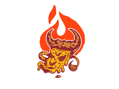 Pizza Bull (Stoked Wood Fired Oven) whip logo badass mad angry drip orange fire tail food cheesy cheese pepperoni horns horn bull flame pizza