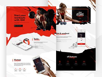Risum digital workout www training website orange landing iphone grunge fitness color app
