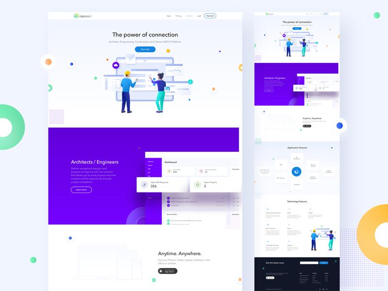 Building Software website layout juicy blue elegant minimal vector green illustration typography ui gradient digital flat colors simple landing design clean website