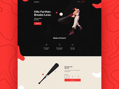 Baseball Bat - Website tits ecommerce dark vector illustration logo typography layout juicy digital gradient landing flat elegant colors simple design website clean minimal
