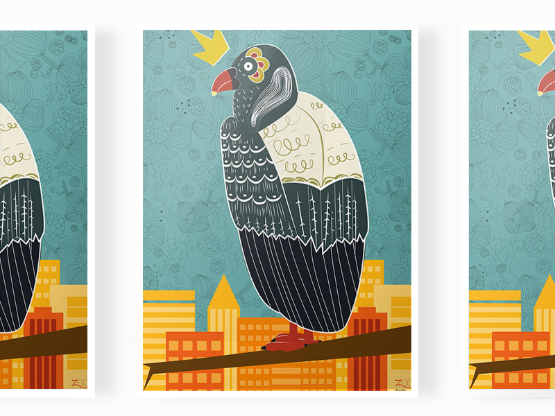 King vulture poster bird kingvulture illustration