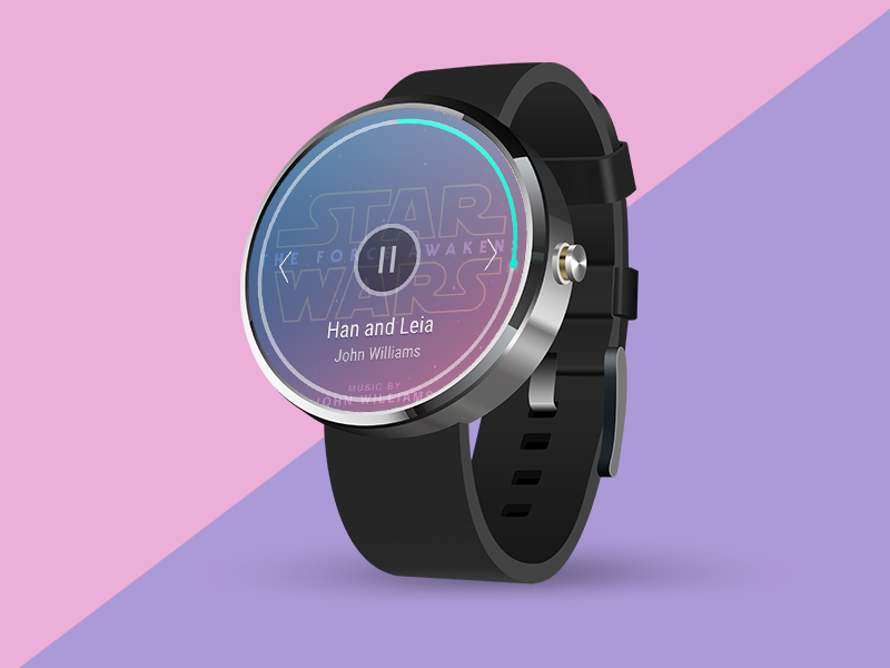 Daily UI challenge #009 — Music Player watch wear androidwear musicplayer challenge dailyui