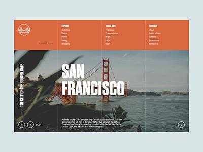 TRAVEL SF site landing page unsplash design flat minimal web app ux ui