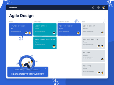 Agile Design ui illustration dashboard agile kanban board product design ux