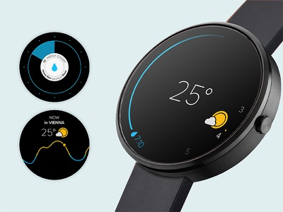 (Anrdoid) Wear OS - Watch Face android wear smartwatch wear os product design wearable ui ux weather app