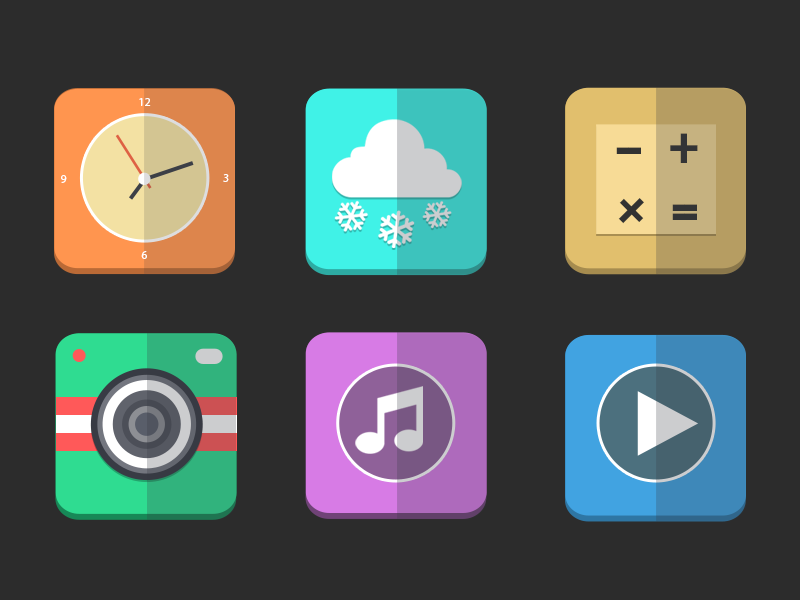 Flat icons PSD video flat music ios 7 icons psd camera weather ui free