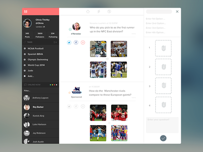 Web App UI profile feed sports timeline