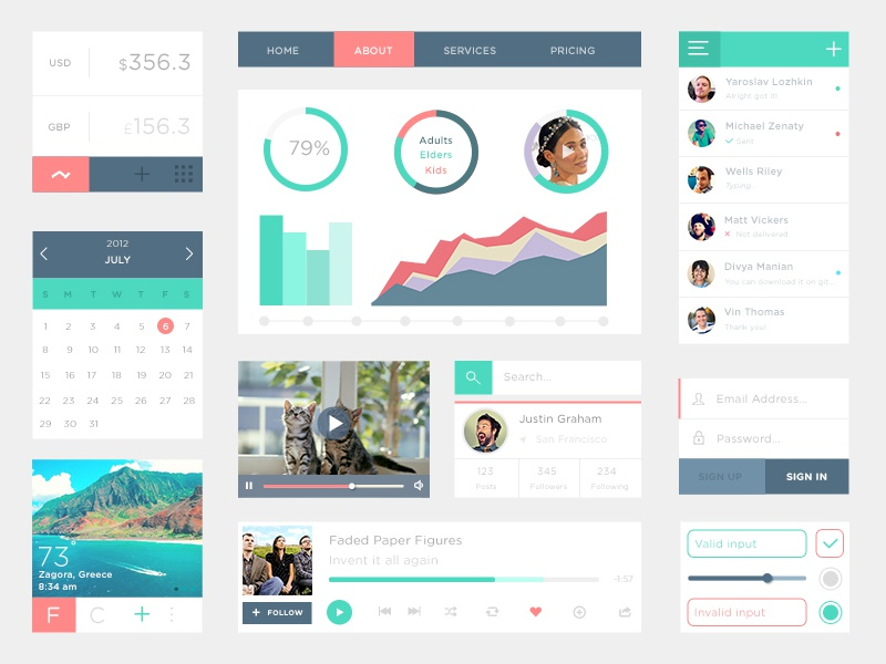 Free PSD UI Kit chat freebie ui kit flat psd free download chart weather profile music psddd
