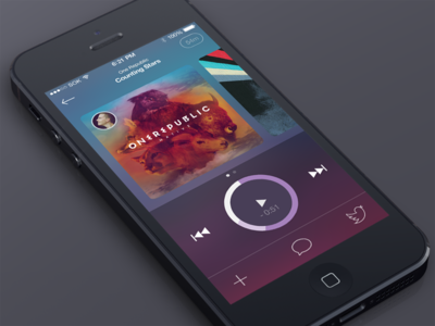 Music player ios 7 iphone psd free icons playlist blurred social twitter