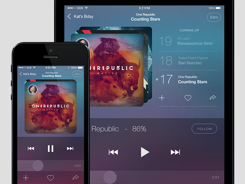 Music Player v1 icons music profile app psd ios 7 social iphone 5s free mockup freebie download