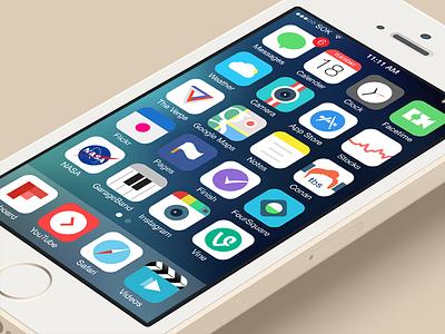 Theme Icons apple replacement jailbreak cydia simple flat app icons ios 7 ipad iphone