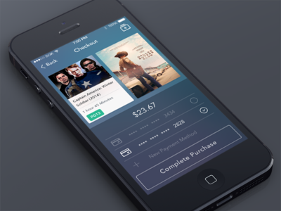 Checkout app psd ios 7 icons free movies store ui mobile iphone 5s freebie