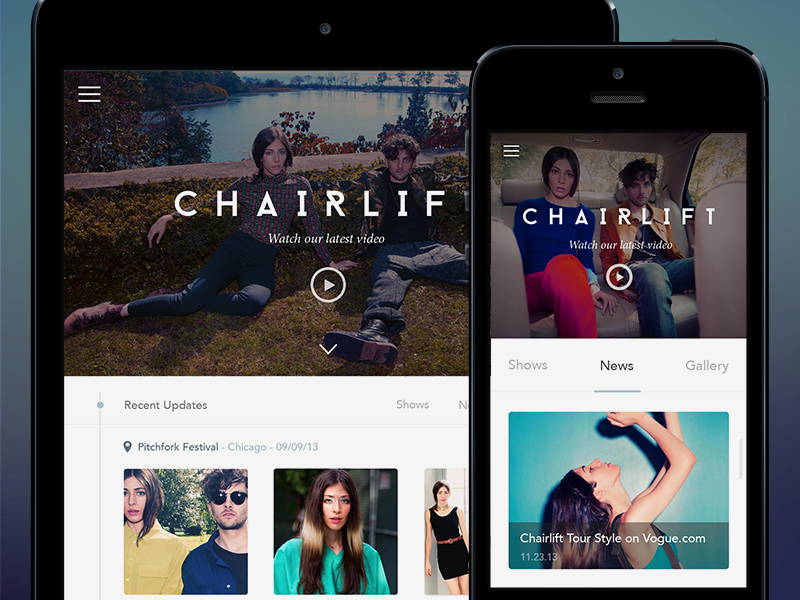 Chairlift mobile redesign font ui indie chairlift navigation music psd ipad iphone free freebie