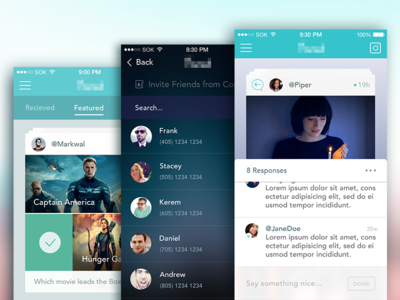 123 friends thin iphone ui comments movies social