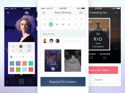 Events App Rebound social wip gallery photos ios8 iphone typography fonts feed minimalist yummyyummypizza