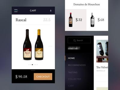 Wine App menu mobile payments iphone6 wine ios8 fonts serif minimal ui app