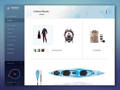Trip planning  minimalist feed fonts imac menu social travel icons app responsive ui