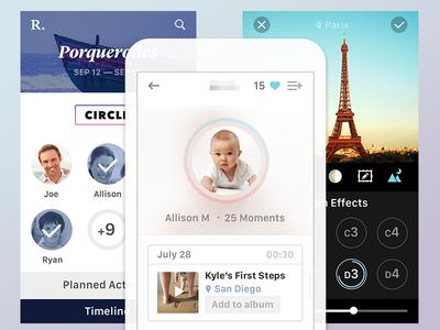 Family App psd minimalist ui apple social icons discovery ios 8 filters albums profile photos