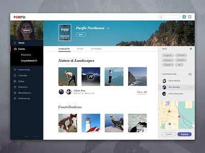 Events app (web view) ui responsive app icons travel social menu imac fonts feed minimalist