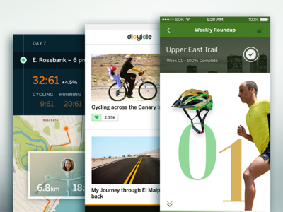 Personalized Cycling (+ community) icons map social wip photos ios9 iphone ui ux feed stats
