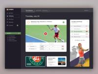 Tennis (WIP) minimalist ux fonts tennis menu social sports icons app responsive ui