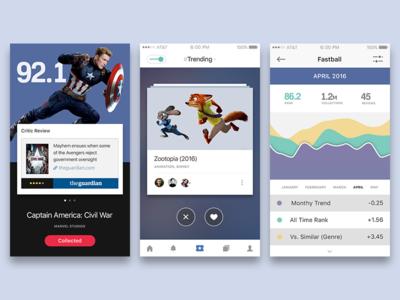 Movie app (concept) minimalist ux chart feed menu social graph icons app iphone ui