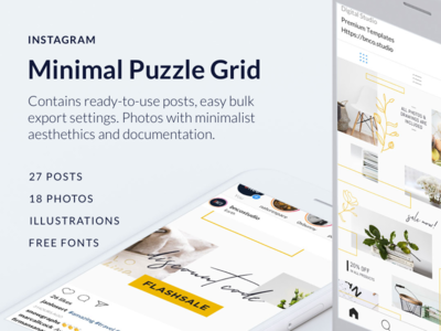 Minimal Instagram Puzzle Grid social media photoshop psd template instagram feed grid puzzle instagram