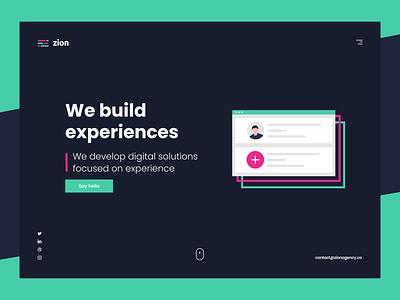 ZION Agency — Landing Page z letter zion agency uiux dark ui webdesign agency branding agency website branding website uidesign ui