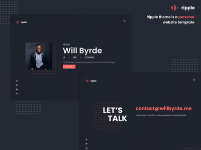 Ripple Theme — Personal Website Template red website concept templates website template ripple theme personal logo personal web template ui design uidesign gatsby theme gatsby template ripple personal personal website personal site personal brand ux uiux ui