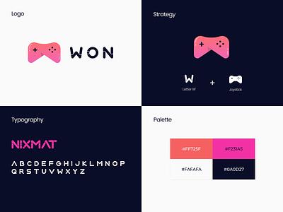 Won Games - Branding Concept game design illustration icon uiux joystick games store games blue typography branding concept branding logo ux ui