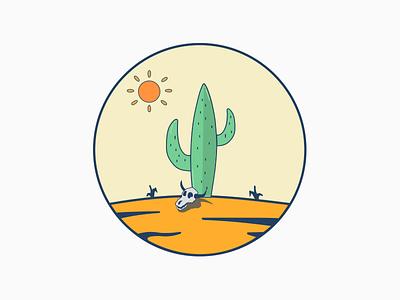 The desert skull cactus desert design illustration