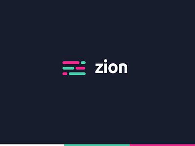 Zion Agency dark blue blue green pink ubuntu typography logotypedesign logotypes uidesign ui branding logotype logo