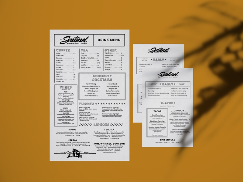 The Sentinel Coffee Shop Bar Menu typography type design bar branding cafe cafe branding restaurant diner menu design menu card menu coffeeshop coffee bar