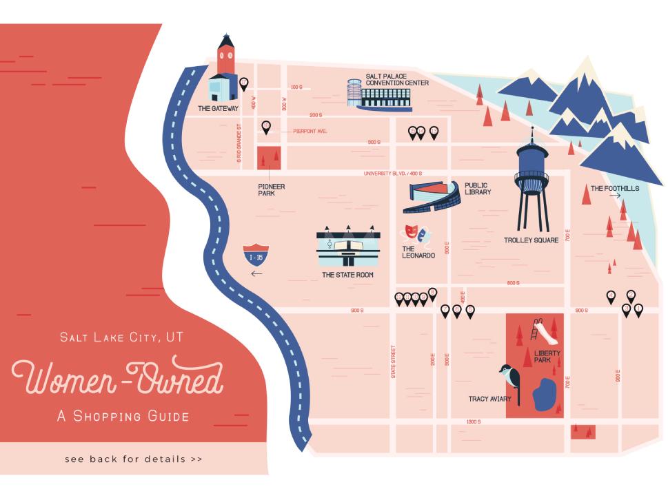 Salt Lake City Illustrated Map shop local downtown downtown map utah salt lake city flat design shopping guide city guide map illustration map design map illustration