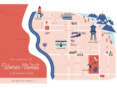 Salt Lake City Illustrated Map shop local downtown downtown map utah salt lake city flat design shopping guide city guide map illustration map design map illustration