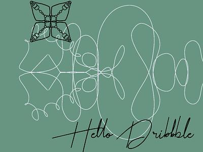 Helllo Dribbble minimal design procreate illustration vector firstshot