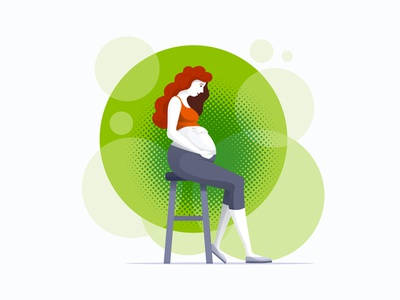 Pregnant woman girl character health mother flat vector illustration woman pregnant