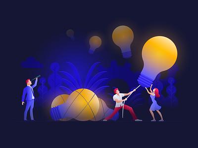 Idea hunters hunt idea teamwork vector illustration