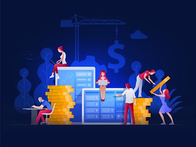 Financial things ai teamwork character design financial illustration money vector finance