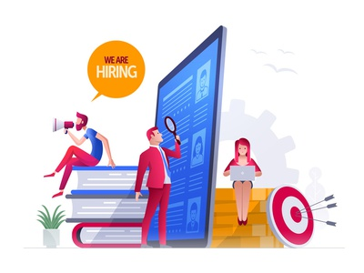 We are hiring human resources hire hr girl teamwork people design character vector illustration