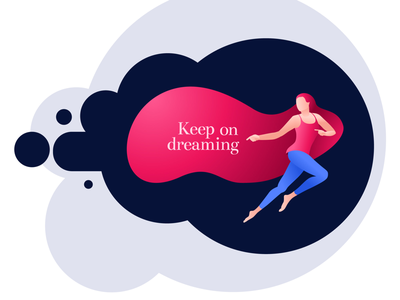 Keep on dreaming character girl woman illustration vector dream