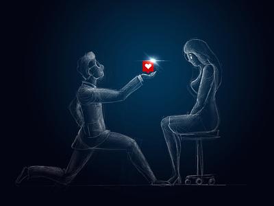 Like proposal marriage girl couple man lover love sketch social media i̇llustration