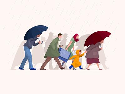 Rain umbrella walk autumn people rain illustration vector