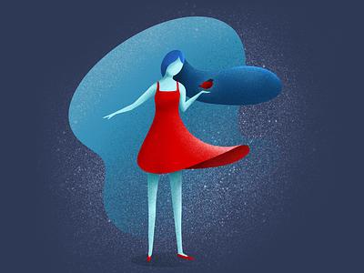 Bird emotional draw character illustration girl bird