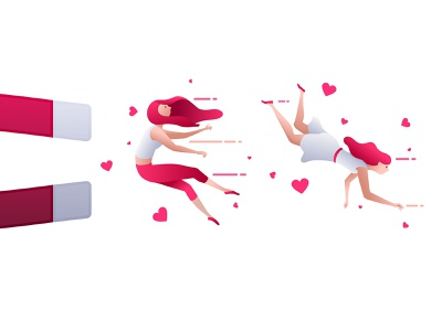 Attraction seduce love illustration vector girl attraction magnet