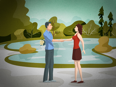 First date nature first date love couple illustration