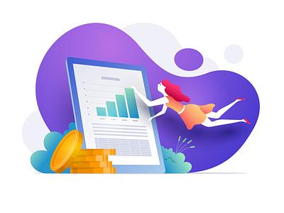 Financial works finance business illustration vector