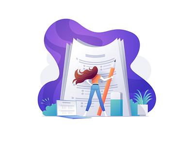 Exam education school survey paper girl exam illustration vector
