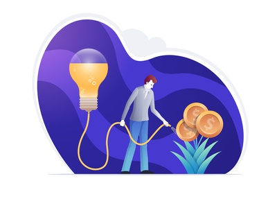 Grow your investment with new ideas. character plant money watering concept investment business illustration vector